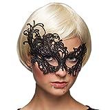 Amakando Edle Spitzenmaske Karneval in Venedig / Schwarz / Wertige Ballmaske Gothic-Style / EIN Highlight zu Halloween & Fasching