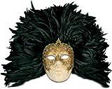 Karneval - Halloween - venezianische Maske - Piuma grande volto macrame oro piume nere