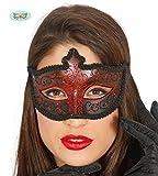 Guirca Venezianische Maske in Rot mit Schwarz und Glitzernd Halbmaske Fasching Party