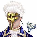 Amakando Edle Schnabelmaske Venezianische Maske Zanni Gold glänzende Pantalone Augenmaske Karneval Venedig Maskenball Accessoire Pestmaske