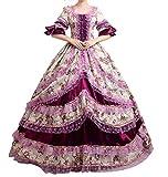 NuoqiDamen Satin Gothic Victorian Prinzessin Kleid Halloween Cosplay Kostüm (34, CC2377A)