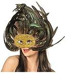 Horror-Shop Exotische Augenmaske mit Pfauenfedern für Fasching & Halloween