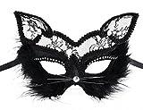 Katzenmaske, Coxeer Halloween Maske Maskerade Maske Venezianischen Masken Kostüm Party Prinzessin Katzenohren Schwarz