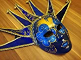 Maske Venedig Joker, blau/gold