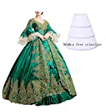 Nuoqi Damen Satin Gothic Viktorianisches Kleid Renaissance Maxi Kostüm (38, CC2367A)