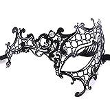 Ndier Prinzessin Venezianische Halbmond-Maske mit Diamant aus Feinstem Metall, Spitzenmaske Sexy Halloween für Maske, Hochzeit, Mardi Gras, Karneval und Veneziana, Schwarz