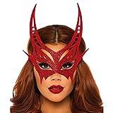 Halbmaske Teufel Damen Augenmaske Glitter Fasching Venezianische Maske rot glitzernd