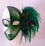Karneval in Venedig Maske Grün mit Pfauenfedern