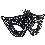 Leder Augen Gesichts Maske Unisex ECHTES LEDER Metall Flachkopf Nieten Ledergürtel Riemen Metall Verschluss Ledapol 335 (schwarz)