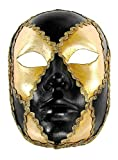 Venezianische Maske Volto scacchi oro cuoio zu Karneval Fasching