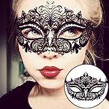 EQLEF Sexy Schwarz Metall Venezianische Maske mit weißen Strass Masquerade Halloween Cosplay Partei