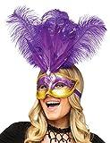 KULTFAKTOR GmbH Venezianische Augenmaske mit Federn violett-Gold Einheitsgröße
