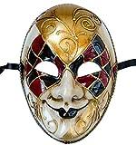 Lannakind Venezianische Maske Gesichtsmaske Joker Herren Karneval Fasching (J05 rot-schwarz)