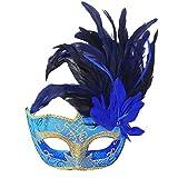 Venezianische Maske, Funpa Halloween Cosplay Kostüm Blaue Feder Damen Maske Maskerade Maske Halbes Gesicht Klassische Maske