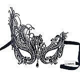 Signstek Sexy Laser-Cut Metall Schwarz venezianischen Maskerade-Maske mit Kristallen (schwarz mit weißstraß)