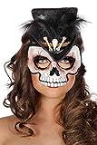 Jannes 34509 Voodoo-Maske mit Knochen und Feder Weiß rot Federschmuck Voodoopuppe Legba Haiti Halloweenmaske Grusel Horror Scary HochwertigEinheitsgröße Weiß