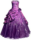 Faironly R37 Frauen Trägerlosen Abendkleid Ballkleid (XL, Lila)