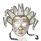 YUFENG Vintage Jolly Joker Venezianische Maske, Kostüm, Halloween, Cosplay, Maske, für Party, Ball, Fasching, Hochzeit, Wanddekoration weiß