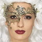 Amakando Filigree Augenmaske - Gold - Venedigmaske für Maskenball Barock Maskerade Metall Halbmaske Venedig Ballmaske Venezianische Maske