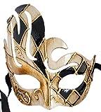 LannaKind Handgefertigte Venezianische Maske Augenmaske Colombina Damen und Herren (C10 Schwarz)