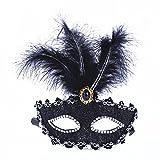 Venezianische Venetianische mit Federn und Stein Schwarz Stoffbezug Maske Maske Maskerade Karneval Fasching Verkleidung Kostüm Halloween Party Maskenball Ball Shades of Grey Mr Grey Mitternacht