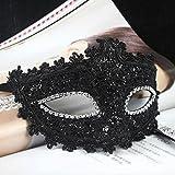 Foxnovo Exquisiten venezianischen Stil Spitze Crystal Strass Cosplay Maske für Halloween /Masquerade/Kostüm-Partei (schwarz)
