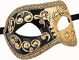 Unbespielt Venezianische Maske Damen Unisex Colombina Mezza schwarz Handarbeit Original Karneval Masken Venezianisch aus Venedig für Maskenball Fasching oder Party