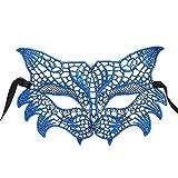 OverDose Damen Maskerade Maske Maskenball Maske Kostüme Karneval Venezianischen Partei Maske DIY Handgemacht Valentinstag Party Offizielle Maske (Blau)