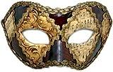 Venezianische Maske -Colombina scacchi oro cuoio musica