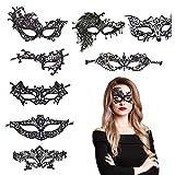 BAMZOK 8 Stück Venezianische Augenmaske Set Elegante Spitze Augen Maske für Damen Gothic Masquerade Kostüm Fasching Halloween Karneval Cosplay Party (Schwarz)