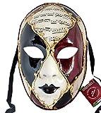 Lannakind Venezianische Maske Gesichtsmaske Volto Damen Karneval, Ballmaske, Wand-Deko (V02 rot-schwarz)