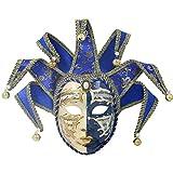 Hophen Volto Venezianische Narren-Maske aus Kunstharz, Vollgesichtsmaske, Glocke, Joker, Wanddekoration, Kunstsammlung