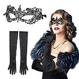 CINMOK 2TLG Venezianische Maske Set Spitze Augen Maske mit 1Paar Schwarz Satinhandschuhen Elegante Lace Gothic Augenmaske Spitzenmaske Faschings Damen Kostüme für Halloween Maskerade Karneval Cosplay