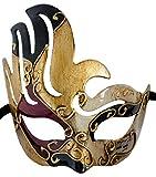LannaKind Handgefertigte Venezianische Maske Augenmaske Colombina Damen und Herren (C05 Rot-Schwarz)