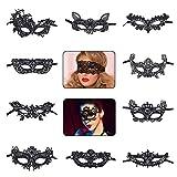KIPIDA Masquerade Maske, Schwarze Sexy Spitze Venezianische Augenmaske Weiche Lace Masken Damen Maske für Ostern Maskenball Bar Cosplay Ballette Maskentanzabend Party Damen Accessoires 10 Modell