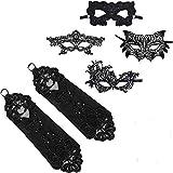 ZEEREE 5 Stück Handschuhe Gesichtsmasken, Venezianische Maske Damen& Handschuhe,für Maskenball Kostüm Karneval Party