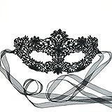 Samantha Peach Venezianische Maske Schwarz Fasching Spitzenmaske Maskenball Karneval Damen - Coachella