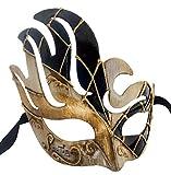 LannaKind Handgefertigte Venezianische Maske Augenmaske Gesicht Colombina Maskenball Damen und Herren blau(C04e)