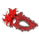 Erwachsene Maske, Spitze Seite Blume Maske Venezianische Maskerade Maske Partei Leistung Blume Ledermaske (Color : Red)