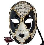 Lannakind Venezianische Maske Gesichtsmaske Volto Damen Karneval, Ballmaske, Wand-Deko (V05 schwarz)