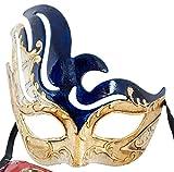 LannaKind Handgefertigte Venezianische Maske Augenmaske Gesicht Colombina Maskenball Damen und Herren blau (Cl12)