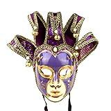 YU FENG Vintage Jolly Joker venezianische Maskerade Maske Kostüm Halloween Cosplay Maske für Party, Ball, Abschlussball, Mardi Gras, Wanddekoration (lila)