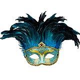 Amakando Entzückende Feder-Maske Baroness / Gesichts-Maske für Frauen Karneval in Venedig / EIN Blickfang zu Mottoparty & Kostümfest