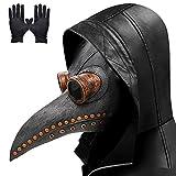 Pest Doktor Maske, lange Nase Vogel Schnabel Steampunk Halloween Kostüm Requisiten Maske mit einem Paar Handschuhe