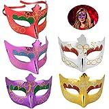 Masquerade Maske, HICOO Venezianische Masken Unisex Gold Glänzende Halbe Gesichtsmaske für Karneval, Hochzeit Requisiten, Karneval Party, Kostümzubehör 5 Stück