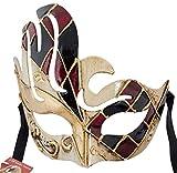 LannaKind Handgefertigte Venezianische Maske Augenmaske Maskerade Ballmaske Fasching Damen und Herren (C09 rot-schwarz)
