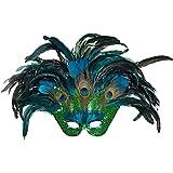 NET TOYS Venezianische Maske Pfau für Erwachsene | ca. 40 x 60 cm | Hochwertiges Frauen-Kostüm-Zubehör Karneval in Venedig | EIN Blickfang für Fasching & Maskenball