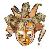 MICG Gold Volto Venezianische Narren-Maske, Vollgesichtsmaske, Glocke, Joker, Wanddekoration, Kunstsammlung (Gold)