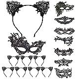 LOOPES 16tlg Venezianische Maske Damen Spitze Augenmaske Gesicht Gothic Lace Gesichtsmasken mit Katzenohren Haarreif für Halloween Fasching Maskerade Masquerade Karneval Kostüm Party Frauen Schwarz
