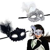 IFUDE Maskerade Maske, 2 Stück venezianische maske Damen Federn Mask, maskenball maske damen Kostüm Federn Maske Venezianische Maske Damen für Halloween, Maskenball Kostüm Karneval Party